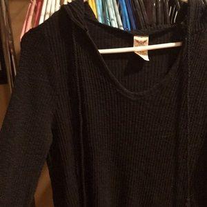Black long sleeve short with hood